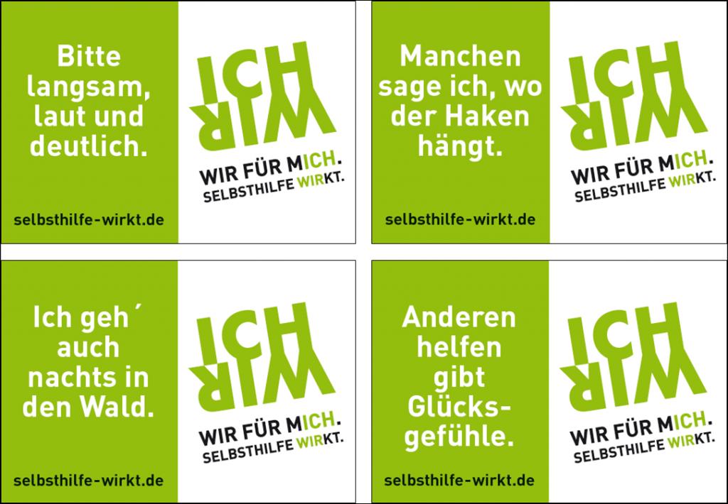 """Postkarten zur Kampagne """"WIR FÜR MICH. SELBSTHILFE WIRKT."""""""