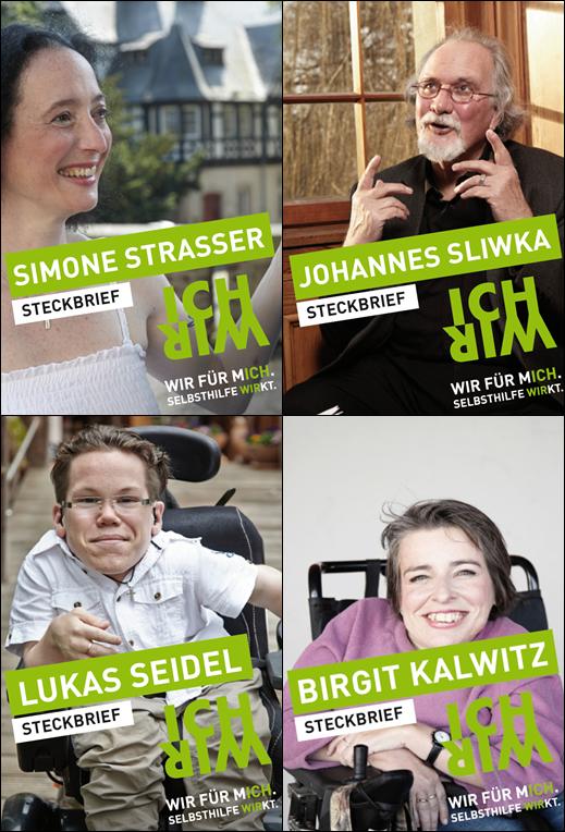 """Steckbriefe der Protagonisten der Kampagne """"WIR FÜR MICH. SELBSTHILFE WIRKT."""""""